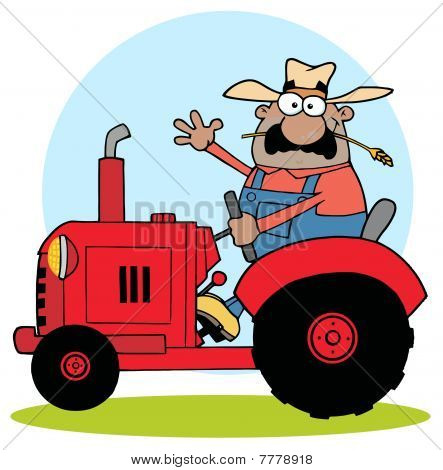 Hispanic Farmer Waving And Driving A Red Tractor