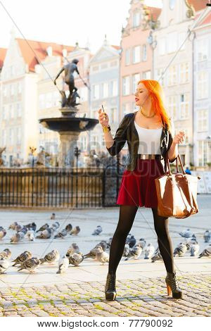 Woman Fashion Girl With Smartphone Outdoor