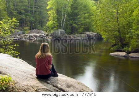 Girl Reading by the River