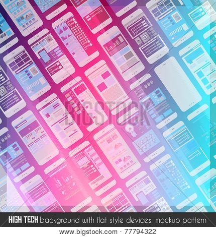 Modern high tech background design with a lot of transparent devices mockup as backround. Ideal for brochure covers, business cards, pages, flyers and so on.