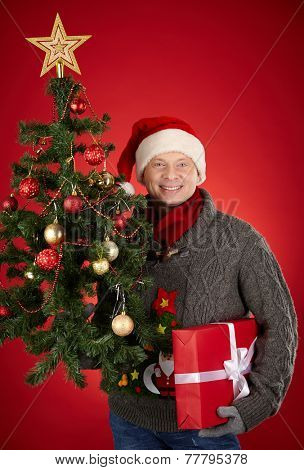 Santa man holding red giftbox and xmas firtree