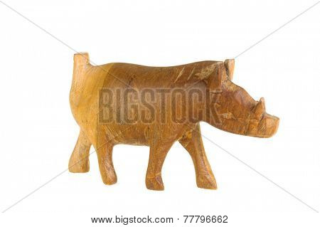 Hayward, CA - November 27, 2014: Crude animal figurine of a Wart Hog by an unknown African artist