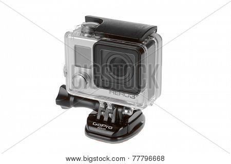 Hayward, CA - November 27, 2014: Hero 3 Black GroPro camera isolated on white