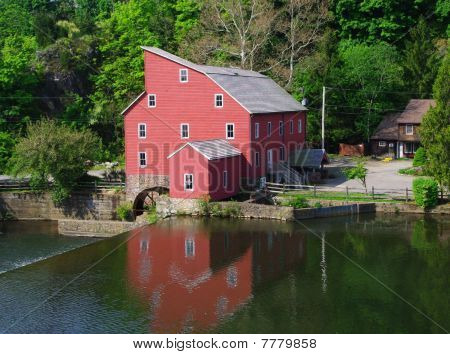 Red Mill and reflection