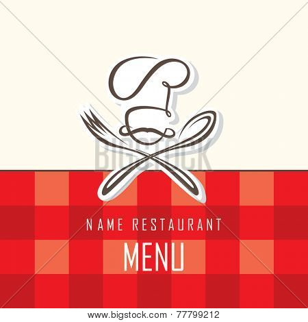 menu design with hat, fork and spoon on red background