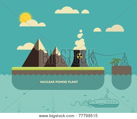 Ecology Concept. Environment, Green Energy and Nature Pollution Design. Nuclear power Plant. Flat Style.