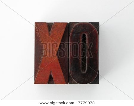 Woodcut letters X and O