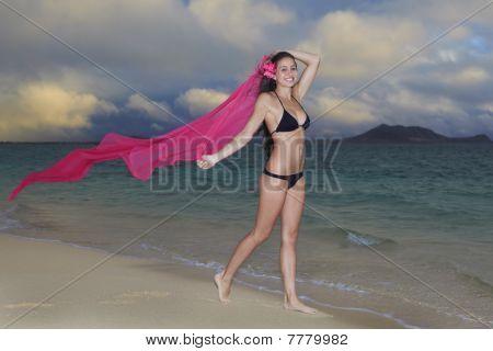 woman in a bikini on lanikai beach