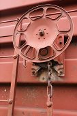 picture of boxcar  - Detail view of freight car brake wheel - JPG