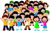stock photo of animated cartoon  - illustration of Crowd of children isolated on white vector - JPG