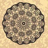 picture of henna tattoo  - Vintage ethnic vector ornament mandala background - JPG
