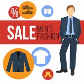 foto of apparel  - Male fashion clothes sale concept with apparel icons and business man vector illustration - JPG