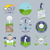 stock photo of competition  - Golf club label set with ball tee player lawn competition isolated vector illustration - JPG