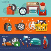 picture of gun shop  - Tire service flat banner set with shop car repair mechanic isolated vector illustration - JPG