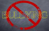 pic of stop bully  - a stop bullying statement with the no sign symbol in red - JPG