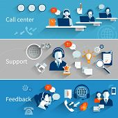 stock photo of helpdesk  - Customer service banners set with call center support feedback isolated vector illustration - JPG