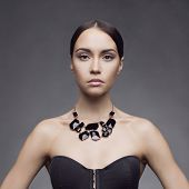 picture of bustiers  - Fashion photo of beautiful lady wear elegant necklace - JPG