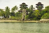 picture of observed  - Palawan Beach with observation tower on Sentosa Island in Singapore - JPG