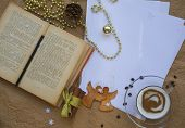 foto of bookworm  - Winter holiday congratulations for bookworms - JPG