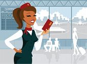 picture of air hostess  - Welcoming air hostess holding tickets  in the airport - JPG