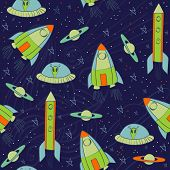 picture of comet  - Seamless pattern with rockets - JPG