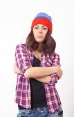 pic of beanie hat  - Cute hipster teenage girl with beanie hat posing looking at camera - JPG
