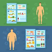 picture of gents  - Healthy Lifestyle Flat Vector Card or Infographic Elements With Refrigerator Full of Food Icons - JPG