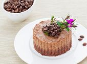 image of tarts  - Raw vegan coffee tart with cacao and mixed nuts - JPG