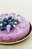 image of vegan  - Vegan raw blueberry cake with brazil nuts and almonds - JPG