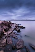 pic of kansas  - Evening time on a cloudy overcast eving on Tuttle Creek Lake in Kansas - JPG