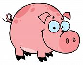 foto of cartoon character  - Happy Smiling Pink Pig With Spots Cartoon Character - JPG