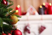 foto of christmas wreath  - Fireplace with beautiful Christmas decorations in room - JPG