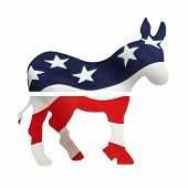 stock photo of superimpose  - Democrat donkey with American flag superimposed on it - JPG