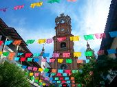 stock photo of guadalupe  - Preparations have been made using papel picado for the Guadalupe Processions to celebrate the patron mother Mary