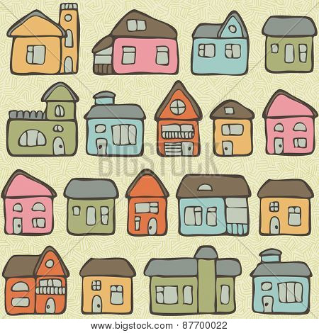 Seamless pattern with hand drawn living houses, vector illustration