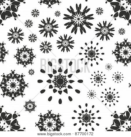 Seamless pattern with abstract flowers. Repeating modern stylish geometric background. Simple black