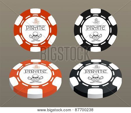 Illustration With Stylized Poker Chips.
