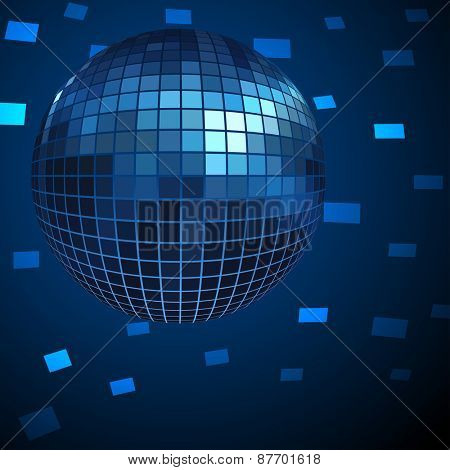 Blue Disco ball background.