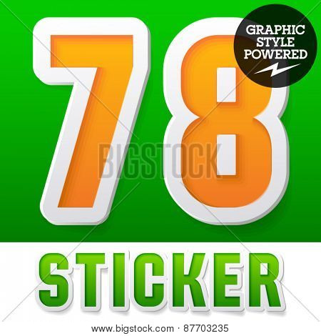 New fresh spring font. Number 7 8