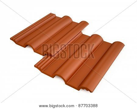Roof tile isolated on white