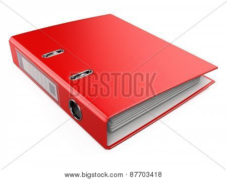 Red Office Folder Ring Binder Isolated on White Background
