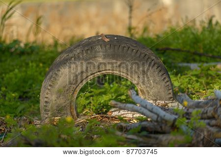 Truck tyre in the mud