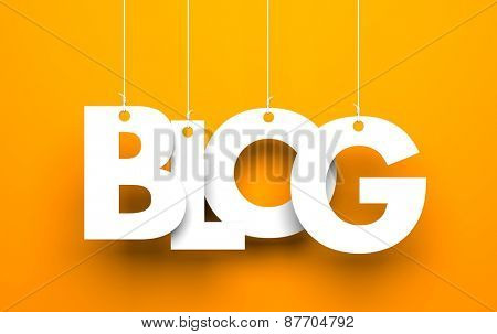 White word BLOG suspended by ropes on orange background