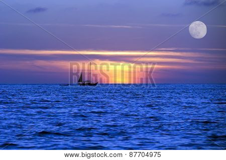 Sailboat Ocean Moon Lightnight  Journey