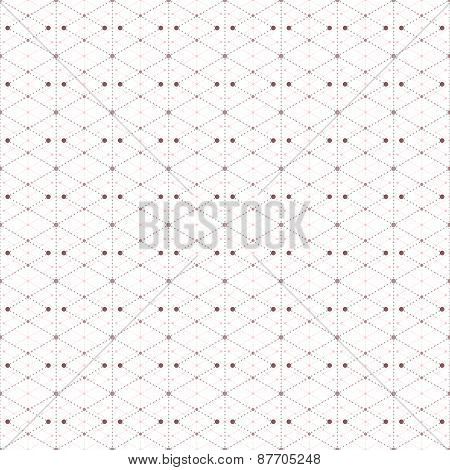 Dotted seamless pattern with rhombus and nodes. Repeating modern stylish geometric background. Simpl