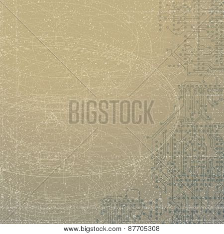 Technical retro background. Conceptual vector template. Abstract background