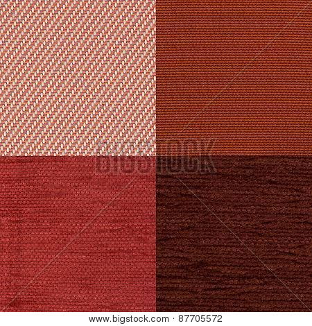 Set Of Red Fabric Samples