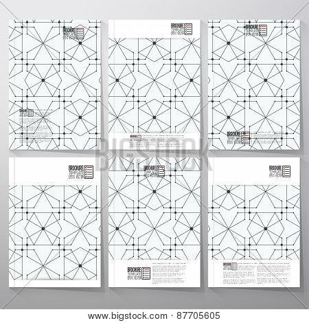 Brochure, flyer or booklet for business, tamplate vector. Hexagons and nodes on background