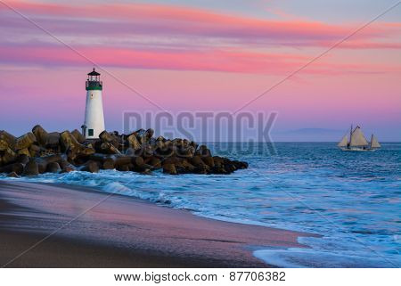 Santa Cruz Breakwater Lighthouse in Santa Cruz, California at sunset