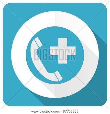 emergency call blue flat icon
